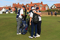 Alex Fitzpatrick (GB&I) gets a hug from big brother Matthew on the 18th during Day 2 Singles at the Walker Cup, Royal Liverpool Golf CLub, Hoylake, Cheshire, England. 08/09/2019.<br /> Picture Thos Caffrey / Golffile.ie<br /> <br /> All photo usage must carry mandatory copyright credit (© Golffile | Thos Caffrey)
