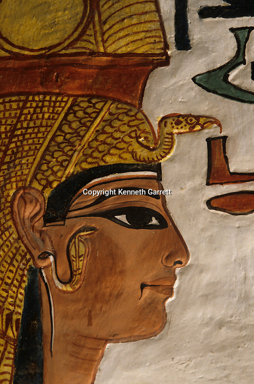Painting of Nefertari, wife of Ramses II, Tomb of Nefertari, Valley of the Queens, New Kingdom, Egypt, Egypt's Valley of the Kings