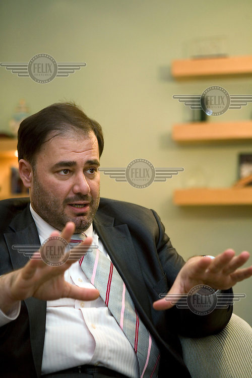 Director General of news channel Al Jazeera, Wadah Khanfar in a meeting with the Sunday Times.