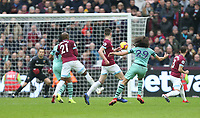 Arsenal's Matteo Guendouzi with a first half shot<br /> <br /> Photographer Rob Newell/CameraSport<br /> <br /> The Premier League - West Ham United v Arsenal - Saturday 12th January 2019 - London Stadium - London<br /> <br /> World Copyright © 2019 CameraSport. All rights reserved. 43 Linden Ave. Countesthorpe. Leicester. England. LE8 5PG - Tel: +44 (0) 116 277 4147 - admin@camerasport.com - www.camerasport.com