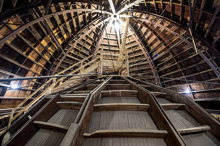 Apr. 20, 2015; Space between the inner and outer Dome of the Main Building.  The smaller dome is the back side of the rotunda mural. (Photo by Matt Cashore/University of Notre Dame)
