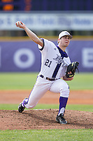 High Point Panthers starting pitcher Andrew Gottfried (21) in action against the NJIT Highlanders during game one of a double-header at Williard Stadium on February 18, 2017 in High Point, North Carolina.  The Panthers defeated the Highlanders 11-0.  (Brian Westerholt/Four Seam Images)