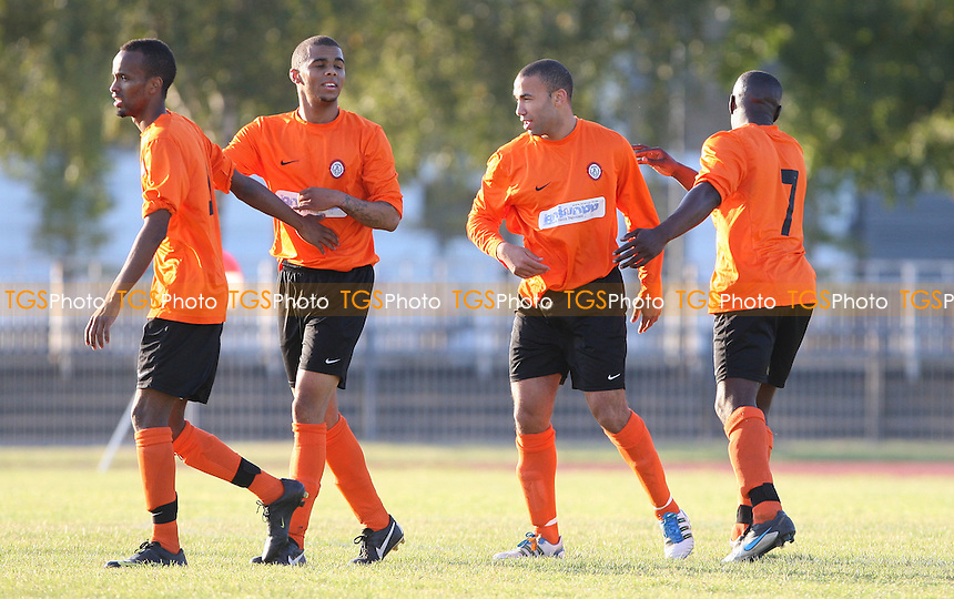 Danny Gabriel celebrates after scoring Bethnal Green's 2nd goal - Bethnal Green United vs Hoddesdon Town, FA Vase at Mile End Stadium - 22/10/11 - MANDATORY CREDIT: Rob Newell/TGSPHOTO - Self billing applies where appropriate - 0845 094 6026 - contact@tgsphoto.co.uk - NO UNPAID USE.