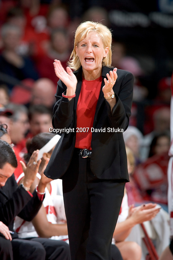 MADISON, WI - JANUARY 28: Head coach Lisa Stone of the Wisconsin Badgers looks on against the Minnesota Golden Gophers at the Kohl Center on January 28, 2007 in Madison, Wisconsin. The Badgers beat the Golden Gophers 70-57. (Photo by David Stluka)