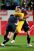 Sione Kepu takes a hit in warmups from Chad Tuoro. Air New Zealand Cup rugby game between Waikato & Counties Manukau played at Rugby Park, Hamilton, on the 17th of August , 2007. Haltime 8 - 8. Fulltime Waikato 30 - Counties Manukau 8.