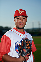 Williamsport Crosscutters pitcher Jose Jimenez (50) poses for a photo before a game against the Mahoning Valley Scrappers on August 28, 2018 at BB&T Ballpark in Williamsport, Pennsylvania.  Williamsport defeated Mahoning Valley 8-0.  (Mike Janes/Four Seam Images)