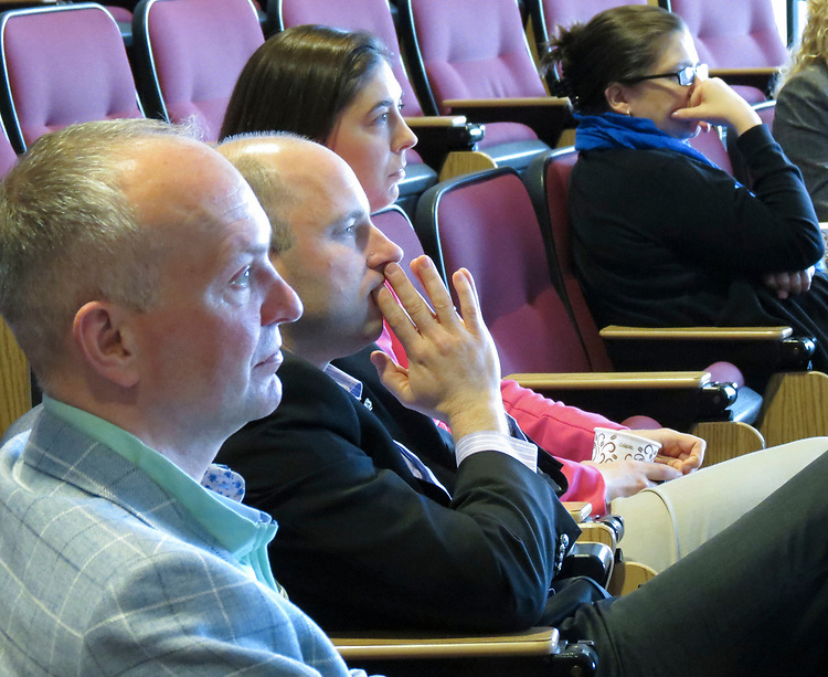 Faculty and staff from Niagara and St John's Universities listen as DePaul University offer their capstone presentation during the cohort's final gathering at Niagara University in New York, April 20-23, 2017. (DePaul University/Jamie Moncrief)