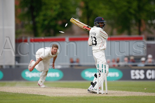 23.05.2016. Old Trafford, Manchester, England. Supersavers County Championship. Lancashire versus Surrey. Lancashire batsman Haseeb Hameed is bowled by Surrey all-rounder Tom Curran for 44.