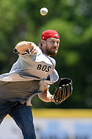 "Former Red Sox pitcher Daniel Bard pitches in a ""Sandlot""-style game concluding a series of workouts with local MLB and MiLB players from around the Upstate region on Thursday June 25, 2020, at Fluor Field at the West End in Greenville, South Carolina. Bard played for the Greenville Drive in 2007-2008, then Boston for five years and is now attempting a comeback with the Rockies. (Tom Priddy/Four Seam Images)"