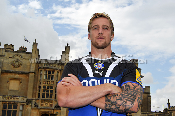 New signing Dominic Day poses for a portrait at the squad Photocall. Bath Rugby Media Day on August 21, 2012 at Farleigh House in Bath, England. Photo by: Patrick Khachfe/Onside Images