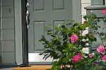Grey Front Door with Flowers