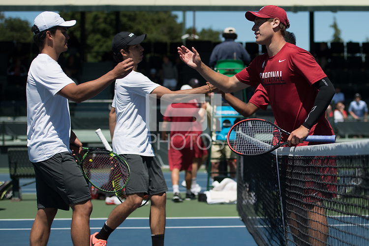 Stanford, CA -- 6th-seeded Cardinal swept past Idaho 4-0 to open the NCAA first round at Taube Family Tennis Stadium.  May 12th, 2017.