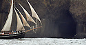 THE BESSIE ELLEN TRAVEL FEATURE.<br /> The Bessie Ellen sailing past Fingal's Cave on the island of Staffa with its distinct geology in the Inner Hebrides, Scotland<br /> Photo:Clare Kendall<br /> 19/05/2016.