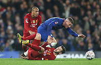 Chelsea's Ross Barkley is challenged by Liverpool's Adam Lallana and Fabinho<br /> <br /> Photographer Rob Newell/CameraSport<br /> <br /> The Emirates FA Cup Fifth Round - Chelsea v Liverpool - Tuesday 3rd March 2020 - Stamford Bridge - London<br />  <br /> World Copyright © 2020 CameraSport. All rights reserved. 43 Linden Ave. Countesthorpe. Leicester. England. LE8 5PG - Tel: +44 (0) 116 277 4147 - admin@camerasport.com - www.camerasport.com
