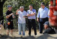 Pictured: Eddie Needham (2nd L), the grandfather of missing Ben Needham with South Yorkshire Police officers in Kos, Greece. Wednesday 05 October 2016<br /> Re: Police teams led by South Yorkshire Police, searching for missing toddler Ben Needham on the Greek island of Kos have moved to a new area in the field they are searching.<br /> Ben, from Sheffield, was 21 months old when he disappeared on 24 July 1991 during a family holiday.<br /> Digging has begun at a new site after a fresh line of inquiry suggested he could have been crushed by a digger.