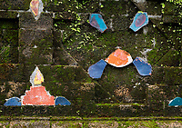 Some of the outside walls from the Mrauk Temples still show the colors and tiles Rakhine State, Myanmar
