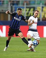 Football Soccer: UEFA Champions League FC Internazionale Milano vs Tottenham Hotspur FC, Giuseppe Meazza stadium, September 15, 2018.<br /> Tottenham's Christian Eriksen (c) in action with Inter's Matias Vecino (l) during the Uefa Champions League football match between Internazionale Milano and Tottenham Hotspur at Giuseppe Meazza (San Siro) stadium, September 18, 2018.<br /> UPDATE IMAGES PRESS/Isabella Bonotto
