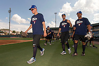 18 September 2012: France Owen Ozanich, Pierrick Le Mestre and Ernesto Martinez are seen during Team France practice, at the 2012 World Baseball Classic Qualifier round, in Jupiter, Florida, USA.