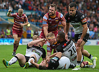 Huddersfield Giants' Adam O'Brien celebrates scoring his side's fourth try<br /> <br /> Photographer Alex Dodd/CameraSport<br /> <br /> Betfred Super League Round 21  - Huddersfield Giants v Widnes Vikings - Friday 7th July 2017 - John Smith's Stadium - Huddersfield<br /> <br /> World Copyright &copy; 2017 CameraSport. All rights reserved. 43 Linden Ave. Countesthorpe. Leicester. England. LE8 5PG - Tel: +44 (0) 116 277 4147 - admin@camerasport.com - www.camerasport.com