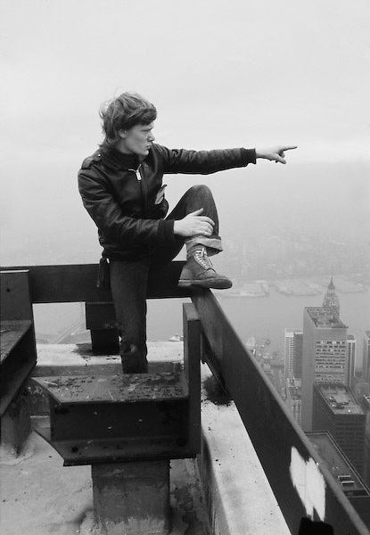 Philippe Petit pointing to South Tower of WTC.