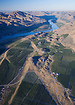 Aerial view of orchards in Bray's Landing area near Orondo in Douglas County, Washington. Columbia River in background..