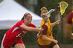 Los Angeles, CA 02/28/14 - Caroline Cordrey (USC #15) and Jamie Romano (Marist #13) in action during the Marist Red Foxes vs University of Southern California Trojans NCAA Women's lacrosse game at Loker Track Stadium on the USC Campus.  Marist defeated USC 12-10.