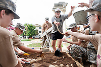 Mississippi State senior Karen Hall, an anthropology major from Newton County, leads a mock archaeological dig as part of LeaderSTATE, a residential high school leadership and STEM camp for JROTC cadets from Mississippi, Alabama and Louisiana. Funded by the United States Army, LeaderSTATE is part of a collaborative partnership between JROTC educators, MSU's Department of Geosciences and the Office of Student Leadership and Community Engagement.<br />  (photo by Megan Bean / &copy; Mississippi State University)