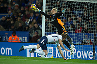 Kasper Schmeichel of Leicester City palms away a spurs effort during the Premier League match between Leicester City and Tottenham Hotspur at the King Power Stadium, Leicester, England on 28 November 2017. Photo by James Williamson / PRiME Media Images.