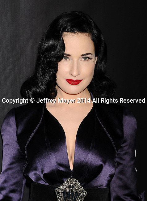HOLLYWOOD, CA- OCTOBER 29: Model Dita Von Teese attends amfAR LA Inspiration Gala honoring Tom Ford at Milk Studios on October 29, 2014 in Hollywood, California.
