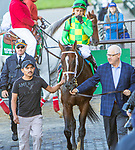 Oct 05, 2019 :  Arklow with Junior Alverado, wins the $500,000 Grade I Joe Hirsch Turf Classic Stakes, 1 1/2 mile on turf, at Belmont Park, in Elmont, NY, October 05, 2019. Sue Kawczynski_ESW_CSM,