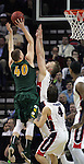 North Dakota State's Dexter Werner (40) is defended by Gonzaga's Domantas Sabonis (11)  during the 2015 NCAA Division I Men's Basketball Championship's March 20, 2015 at the Key Arena in Seattle, Washington.   ©2015. Jim Bryant Photo. ALL RIGHTS RESERVED.