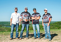 Winners of the Biggest Fish award, from left, Kent Reno (cq), Chaz Trujillo (cq), Matt Rush (cq), and Jon Stricklen (cq) with team Midnight Mafia, from Oklahoma, after the 2014 U.S. Open Bowfishing Championship at Table Rock Lake, Missouri, Sunday, May 4, 2014.<br /> <br /> Photo by Matt Nager