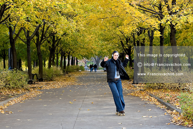 Daniel Senecal skates with old schools quad roller skates in the Parc Lafontaine Park in Montreal November 3, 2008.