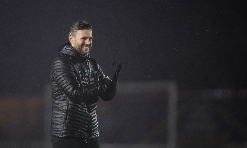 Lincoln City's assistant manager Nicky Cowley applauds the fans at the final whistle<br /> <br /> Photographer Chris Vaughan/CameraSport<br /> <br /> The EFL Sky Bet League Two - Saturday 15th December 2018 - Lincoln City v Morecambe - Sincil Bank - Lincoln<br /> <br /> World Copyright © 2018 CameraSport. All rights reserved. 43 Linden Ave. Countesthorpe. Leicester. England. LE8 5PG - Tel: +44 (0) 116 277 4147 - admin@camerasport.com - www.camerasport.com