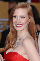 LOS ANGELES, CA - JANUARY 27: Jessica Chastain at The 19th Annual Screen Actors Guild Awards at the Los Angeles Shrine Exposition Center in Los Angeles, California. January 27, 2013. Credit: MediaPunch Inc.