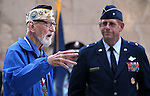 Nevada Adjutant General William R. Burks, right, listens to Navy veteran Charles Sehe during a ceremony at the U.S.S. Nevada Memorial on the Capitol grounds in Carson City, Nev., on Wednesday, Oct. 14, 2015. Sehe served on the U.S.S. Nevada during World War II. <br /> Photo by Cathleen Allison