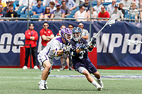 Joseph Sessa  (#3) attacks the Albany defense as Yale defeats UAlbany 20-11 in the NCAAA semifinal game at Gillette Stadium, May 26.