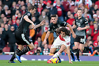 Arsenal's Matteo Guendouzi holds off the challenge from Burnley's Ashley Westwood<br /> <br /> Photographer David Shipman/CameraSport<br /> <br /> The Premier League - Arsenal v Burnley - Saturday 22nd December 2018 - The Emirates - London<br /> <br /> World Copyright © 2018 CameraSport. All rights reserved. 43 Linden Ave. Countesthorpe. Leicester. England. LE8 5PG - Tel: +44 (0) 116 277 4147 - admin@camerasport.com - www.camerasport.com