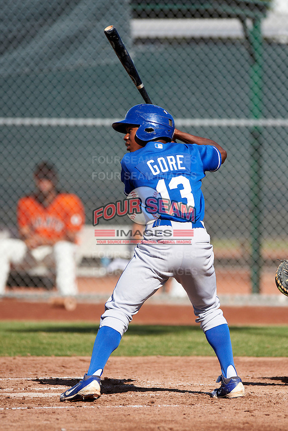 Kansas City Royals minor league outfielder Terrance Gore #13 during an instructional league game against the San Francisco Giants at the Giants Baseball Complex on October 18, 2012 in Scottsdale, Arizona. (Mike Janes/Four Seam Images)