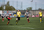First-half action as East Stirlingshire take on Edinburgh City (in yellow) in the second leg of the Scottish League pyramid play-off at Ochilview Park, Stenhousemuir. The play-offs were introduced in 2015 with the winners of the Highland and Lowland Leagues playing-off for the chance to play the club which finished bottom of Scottish League 2. Edinburgh City won the match 1-0 giving them a 2-1 aggregate victory making them the first club in Scottish League history to be promoted into the league.