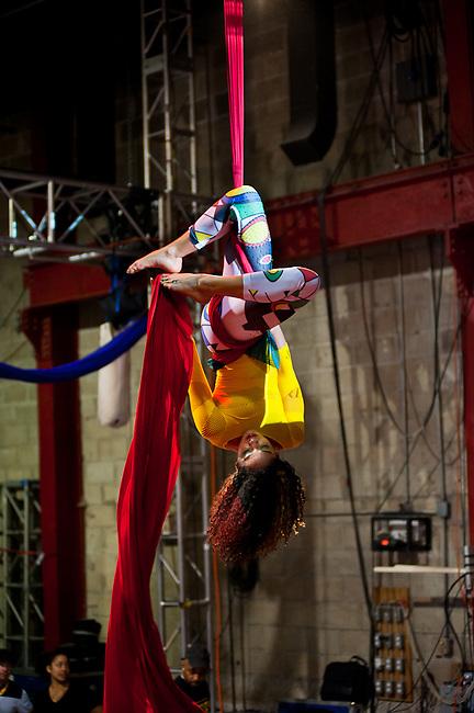 Aerial performance by Dani Vialpando at Streb in Williamsburg, Brooklyn.