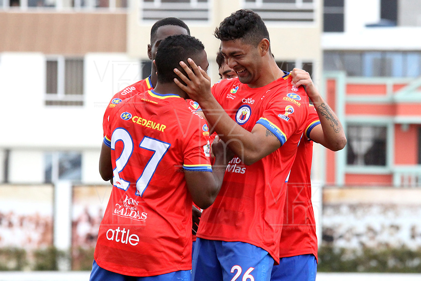 IPIALES-COLOMBIA ,17-02-2019.Fabian Viafara (Deespaldas )jugador  del Deportivo Pasto celebra después de anotar un gol con sus compañeros  a Jaguares de Córdoba durante partido por la fecha 5 de la Liga Águila I 2019 jugado en el estadio Municipal de Ipiales./ Fabian Viafara player of Deportivo Pasto  celebrates after scoring a goal agaisnt of  Jaguares of Cordoba during the match for the date 5 of the Aguila League I 2019 played at Municipal stadium in Ipiales city. Photo: VizzorImage/ Leonardo Castro / Contribuidor