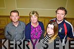 Pictured at the meeting on the school cuts, held in the Brandon hotel on Monday evening were l-r: Senachán MacGearailt (Scoil an Ghleanna, Daingean Uí Chúis) Deirdre Nic AntSaoir (Scoil Eoin Baiste Liospoil) Una Costello (Cullina National School, Beaufort) and Paul Horan (Knockanes National School, Killarney)
