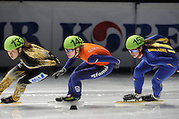 SCHAATSEN: DORDRECHT: Sportboulevard, Korean Air ISU World Cup Finale, 10-02-2012, Yasuko Sakashita JPN (133), Annita van Doorn NED (14), Olena Pashchenko UKR (159), ©foto: Martin de Jong