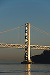 San Francisco, California: Bay Bridge tower and Yerba Buena Island in San Francisco Bay. Photo 16-casanf78996. Photo copyright Lee Foster.