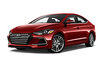 Stock pictures of low aggressive front three quarter view of 2017 Hyundai Elantra Sport 4 Door Sedan Low Aggressive