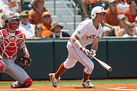 Texas Longhorns outfielder Collin Shaw (4) follows through on his swing during the NCAA Super Regional baseball game against the Houston Cougars on June 7, 2014 at UFCU Disch–Falk Field in Austin, Texas. The Longhorns are headed to the College World Series after they defeated the Cougars 4-0 in Game 2 of the NCAA Super Regional. (Andrew Woolley/Four Seam Images)