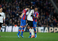 5th January 2020; Selhurst Park, London, England; English FA Cup Football, Crystal Palace versus Derby County; Luka Milivojevic of Crystal Palace headbutts Tom Huddlestone of Derby County - Strictly Editorial Use Only. No use with unauthorized audio, video, data, fixture lists, club/league logos or 'live' services. Online in-match use limited to 120 images, no video emulation. No use in betting, games or single club/league/player publications