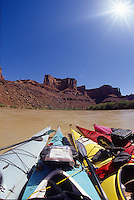 Paddlers raft up for a float along the calm Green River, canyonlands National Park, Utah