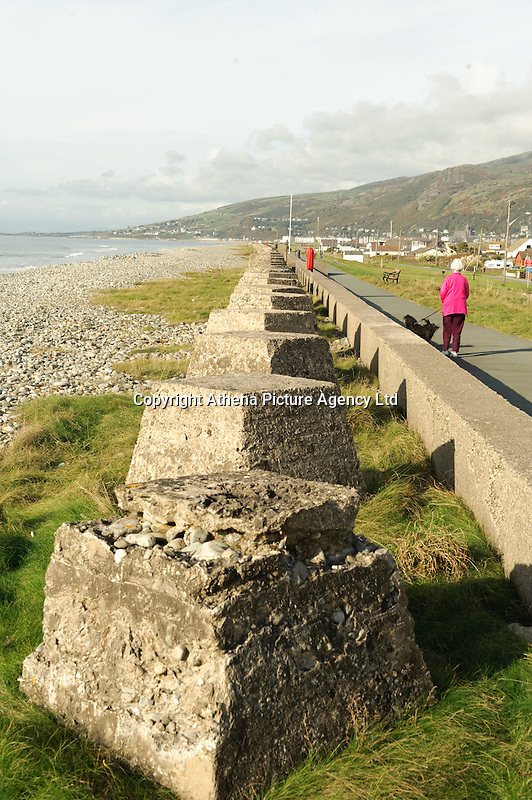 The sea coastal defences on the beach at Fairbourne, on the Cardigan Bay coast, Gwynedd, north Wales, UK which is threatened by the policy of 'managed retreat' of the coastal sea defences.